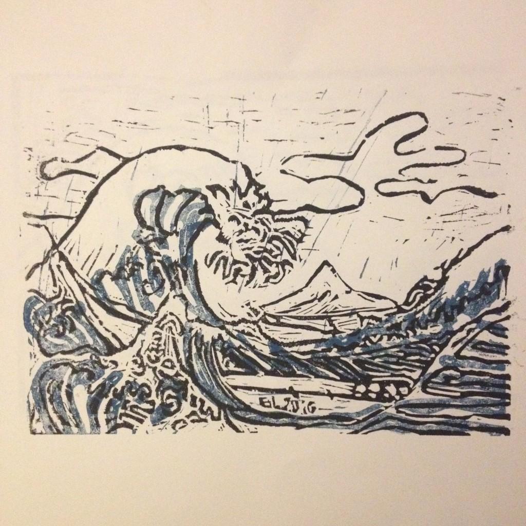 "Estampe Janv 2016 d'après ""La Grande Vague de Kanagawa"" d'Hokusaï"